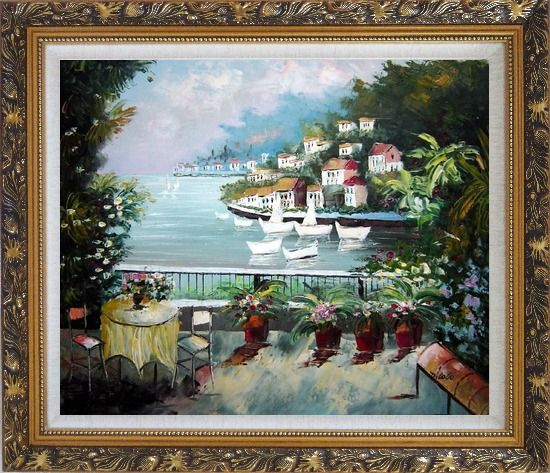 Framed The Quiet Bay Oil Painting Mediterranean Naturalism Ornate Antique Dark Gold Wood Frame 26 x 30 Inches
