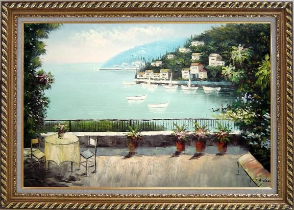 Framed The Quiet Bay Oil Painting Mediterranean Naturalism Exquisite Gold Wood Frame 30 x 42 Inches