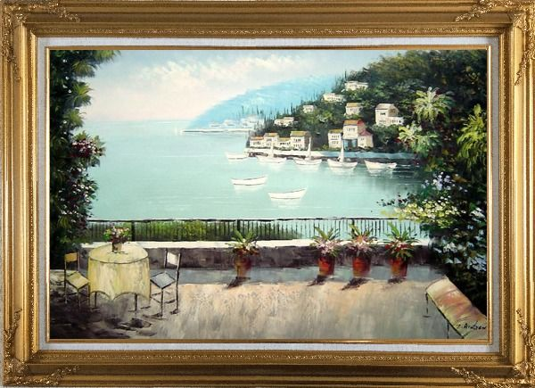 Framed The Quiet Bay Oil Painting Mediterranean Naturalism Gold Wood Frame with Deco Corners 31 x 43 Inches