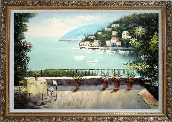 Framed The Quiet Bay Oil Painting Mediterranean Naturalism Ornate Antique Dark Gold Wood Frame 30 x 42 Inches