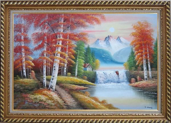 Framed Small Waterfall Scenery in Alaska Colorful Autumn Oil Painting Landscape Naturalism Exquisite Gold Wood Frame 30 x 42 Inches