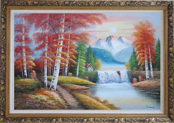 Framed Small Waterfall Scenery in Alaska Colorful Autumn Oil Painting Landscape Naturalism Ornate Antique Dark Gold Wood Frame 30 x 42 Inches