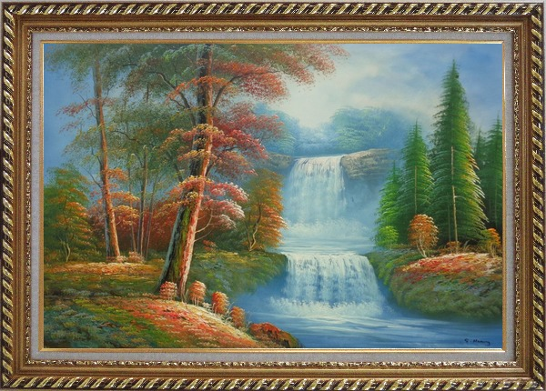 Framed Small Cascade Waterfall with Tall Red Leaf Tree Autumn Scenery Oil Painting Landscape Naturalism Exquisite Gold Wood Frame 30 x 42 Inches