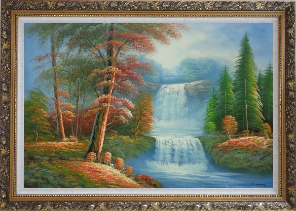 Framed Small Cascade Waterfall with Tall Red Leaf Tree Autumn Scenery Oil Painting Landscape Naturalism Ornate Antique Dark Gold Wood Frame 30 x 42 Inches