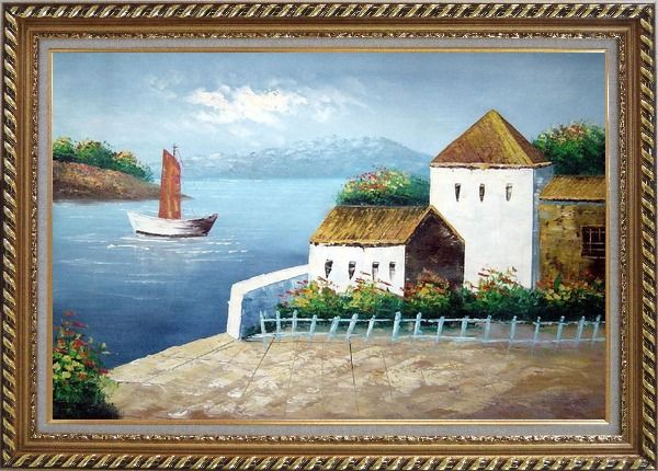 Framed Beach House Oil Painting Mediterranean Naturalism Exquisite Gold Wood Frame 30 x 42 Inches