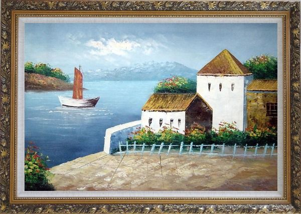 Framed Beach House Oil Painting Mediterranean Naturalism Ornate Antique Dark Gold Wood Frame 30 x 42 Inches