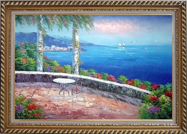 Framed Seashore Scene, Sunshine of Mediterranean Oil Painting Naturalism Exquisite Gold Wood Frame 30 x 42 Inches