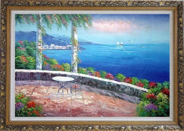 Framed Seashore Scene, Sunshine of Mediterranean Oil Painting Naturalism Ornate Antique Dark Gold Wood Frame 30 x 42 Inches