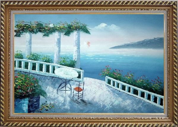 Framed Mediterranean Fantasy Seashore Garden Oil Painting Impressionism Exquisite Gold Wood Frame 30 x 42 Inches
