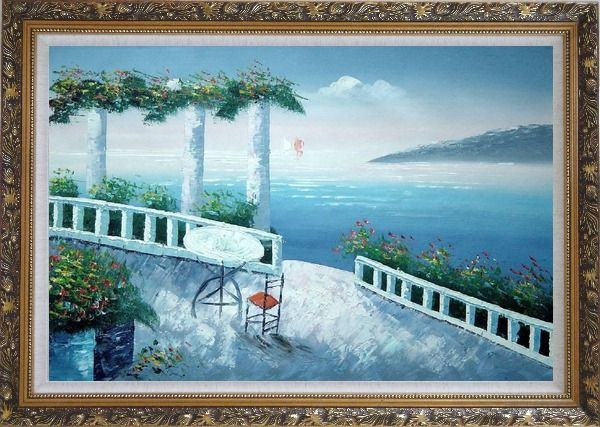 Framed Mediterranean Fantasy Seashore Garden Oil Painting Impressionism Ornate Antique Dark Gold Wood Frame 30 x 42 Inches