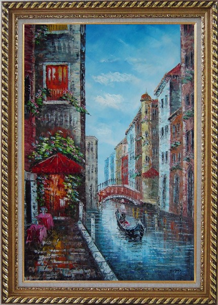 Framed A Lonely Gondolier On Venice Street Oil Painting Italy Impressionism Exquisite Gold Wood Frame 42 x 30 Inches