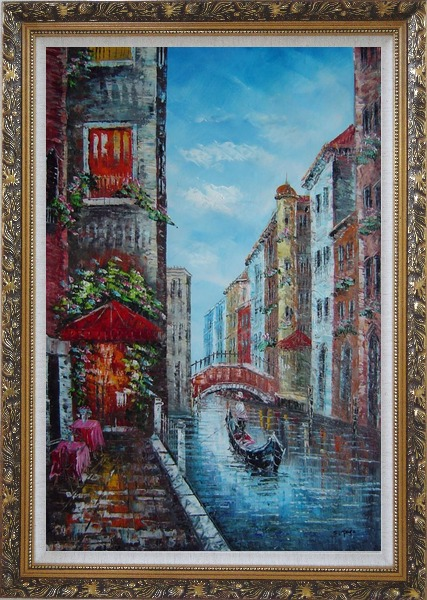 Framed A Lonely Gondolier On Venice Street Oil Painting Italy Impressionism Ornate Antique Dark Gold Wood Frame 42 x 30 Inches