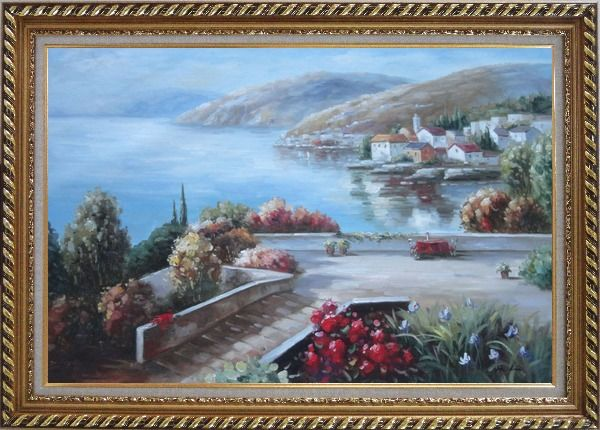 Framed Flower Garden At Mediterranean Coast Oil Painting Naturalism Exquisite Gold Wood Frame 30 x 42 Inches