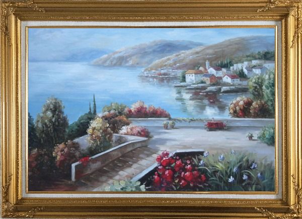 Framed Flower Garden At Mediterranean Coast Oil Painting Naturalism Gold Wood Frame with Deco Corners 31 x 43 Inches