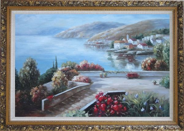 Framed Flower Garden At Mediterranean Coast Oil Painting Naturalism Ornate Antique Dark Gold Wood Frame 30 x 42 Inches