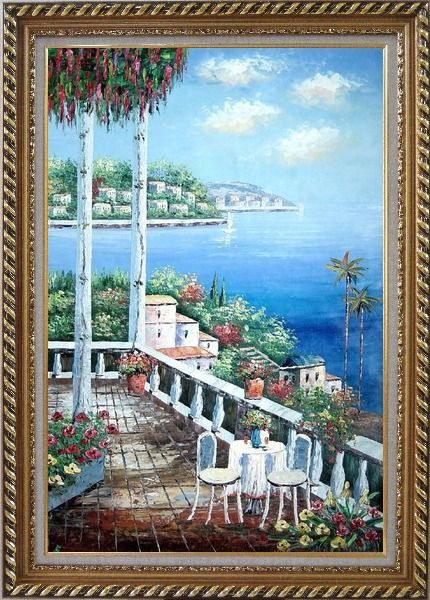 Framed Chairs and Table On Terrace with View of Mediterranean Sea Oil Painting Naturalism Exquisite Gold Wood Frame 42 x 30 Inches