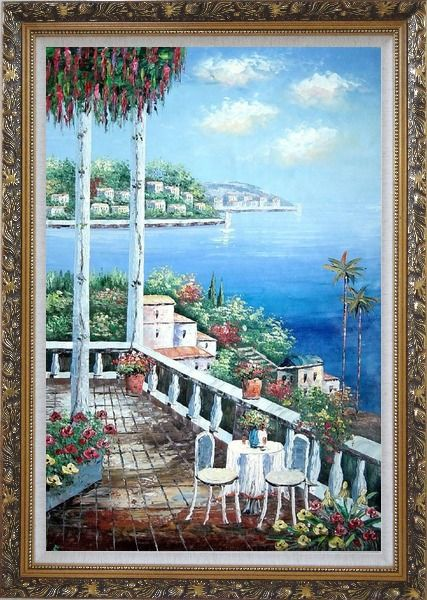 Framed Chairs and Table On Terrace with View of Mediterranean Sea Oil Painting Naturalism Ornate Antique Dark Gold Wood Frame 42 x 30 Inches