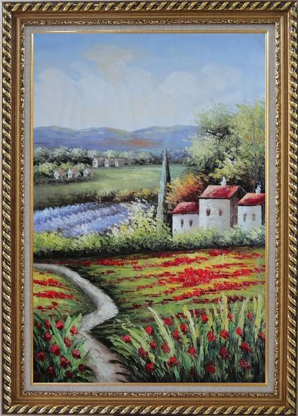 Framed Gorges Tuscany Red Poppy Flower Fields Oil Painting Landscape Italy Naturalism Exquisite Gold Wood Frame 42 x 30 Inches