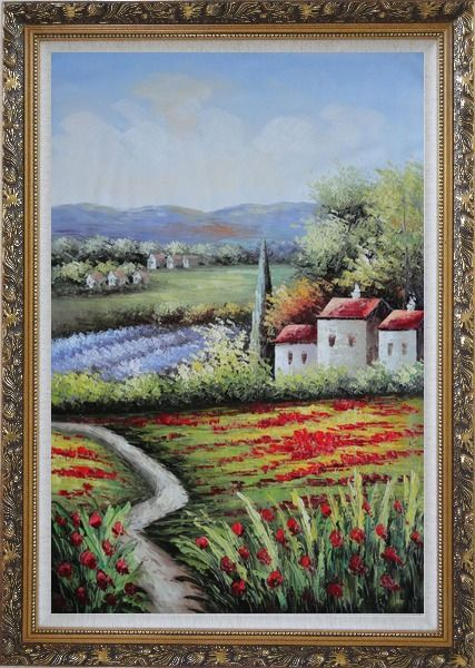 Framed Gorges Tuscany Red Poppy Flower Fields Oil Painting Landscape Italy Naturalism Ornate Antique Dark Gold Wood Frame 42 x 30 Inches