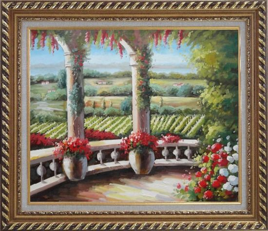 Framed Tuscany Patio Surrounded by Vineyard Winery Oil Painting Landscape Field Italy Naturalism Exquisite Gold Wood Frame 26 x 30 Inches
