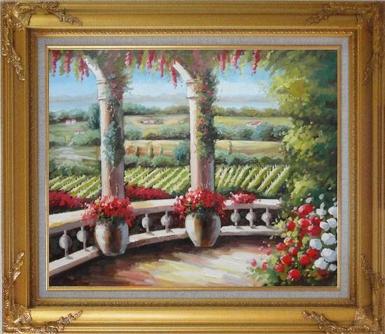 Framed Tuscany Patio Surrounded by Vineyard Winery Oil Painting Landscape Field Italy Naturalism Gold Wood Frame with Deco Corners 27 x 31 Inches