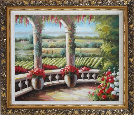 Framed Tuscany Patio Surrounded by Vineyard Winery Oil Painting Landscape Field Italy Naturalism Ornate Antique Dark Gold Wood Frame 26 x 30 Inches