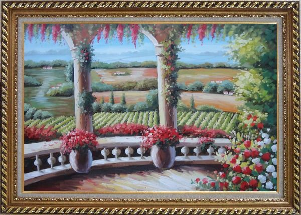 Framed Tuscany Patio Surrounded by Vineyard Winery Oil Painting Landscape Field Italy Naturalism Exquisite Gold Wood Frame 30 x 42 Inches