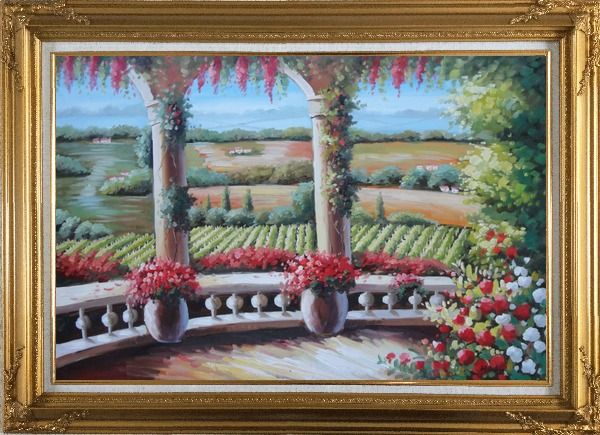 Framed Tuscany Patio Surrounded by Vineyard Winery Oil Painting Landscape Field Italy Naturalism Gold Wood Frame with Deco Corners 31 x 43 Inches