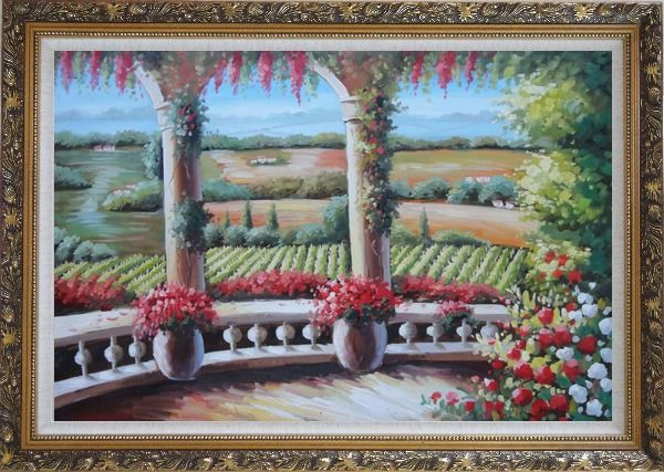 Framed Tuscany Patio Surrounded by Vineyard Winery Oil Painting Landscape Field Italy Naturalism Ornate Antique Dark Gold Wood Frame 30 x 42 Inches