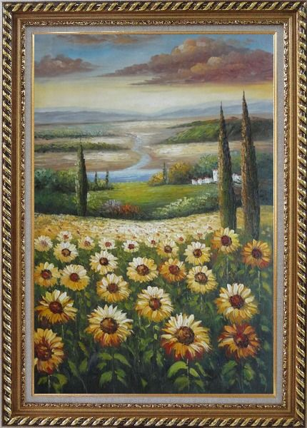 Framed Tuscany Sunflower Field View Oil Painting Landscape Naturalism Exquisite Gold Wood Frame 42 x 30 Inches