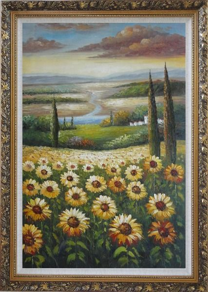 Framed Tuscany Sunflower Field View Oil Painting Landscape Naturalism Ornate Antique Dark Gold Wood Frame 42 x 30 Inches