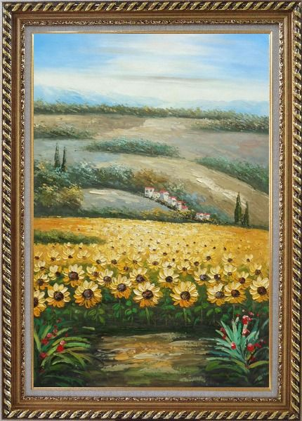 Framed Sunflower Field Scenery Oil Painting Landscape Naturalism Exquisite Gold Wood Frame 42 x 30 Inches