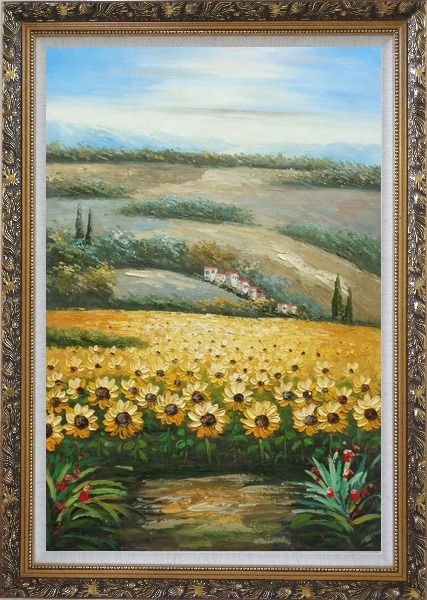 Framed Sunflower Field Scenery Oil Painting Landscape Naturalism Ornate Antique Dark Gold Wood Frame 42 x 30 Inches