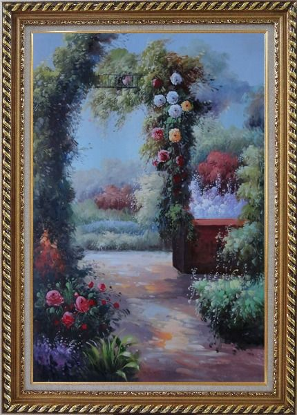 Framed  Beautiful Flower Garden Arched Arbor Oil Painting Italy Naturalism Exquisite Gold Wood Frame 42 x 30 Inches