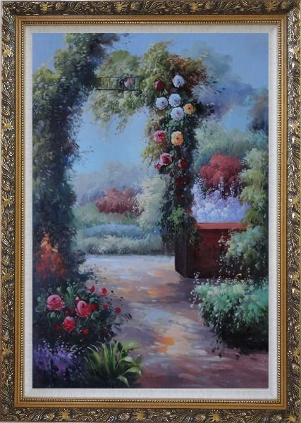 Framed  Beautiful Flower Garden Arched Arbor Oil Painting Italy Naturalism Ornate Antique Dark Gold Wood Frame 42 x 30 Inches