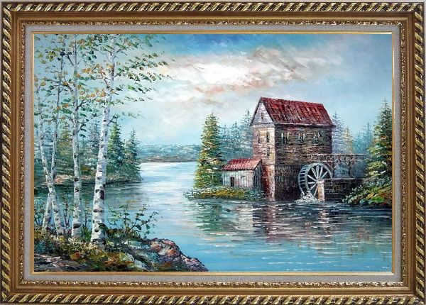 Framed Riverside Waterwheel House in Spring Oil Painting Landscape Naturalism Exquisite Gold Wood Frame 30 x 42 Inches