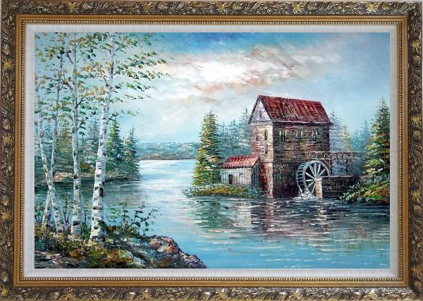Framed Riverside Waterwheel House in Spring Oil Painting Landscape Naturalism Ornate Antique Dark Gold Wood Frame 30 x 42 Inches
