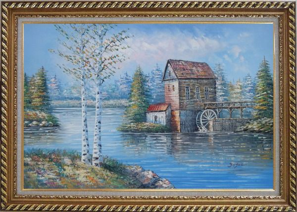 Framed Water Wheel House On River Oil Painting Landscape Autumn Naturalism Exquisite Gold Wood Frame 30 x 42 Inches