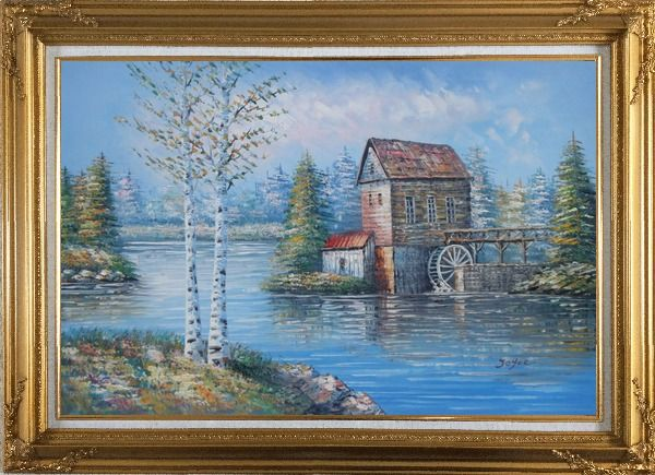 Framed Water Wheel House On River Oil Painting Landscape Autumn Naturalism Gold Wood Frame with Deco Corners 31 x 43 Inches