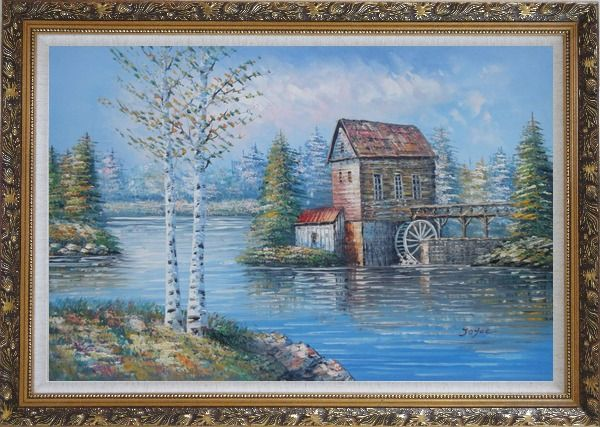 Framed Water Wheel House On River Oil Painting Landscape Autumn Naturalism Ornate Antique Dark Gold Wood Frame 30 x 42 Inches