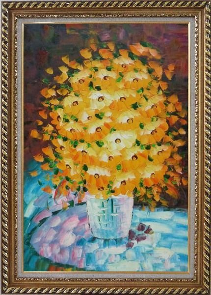 Framed Bouquet of Flowers in a Blue Vase Oil Painting Still Life Classic Exquisite Gold Wood Frame 42 x 30 Inches