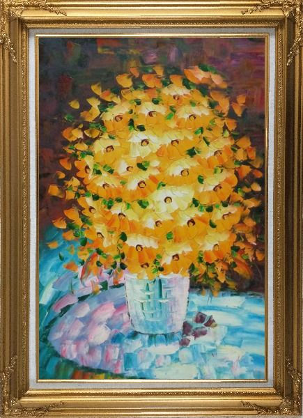 Framed Bouquet of Flowers in a Blue Vase Oil Painting Still Life Classic Gold Wood Frame with Deco Corners 43 x 31 Inches