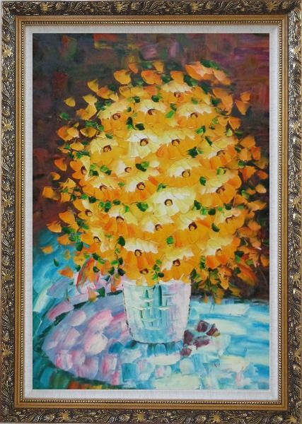 Framed Bouquet of Flowers in a Blue Vase Oil Painting Still Life Classic Ornate Antique Dark Gold Wood Frame 42 x 30 Inches