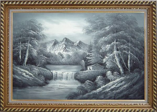 Framed Black and White Cascade, Small House Scene Oil Painting Landscape River Naturalism Exquisite Gold Wood Frame 30 x 42 Inches