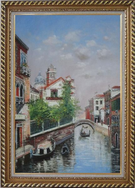 Framed My Impression Of Venice Oil Painting Italy Impressionism Exquisite Gold Wood Frame 42 x 30 Inches