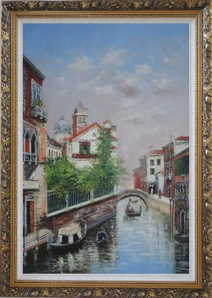 Framed My Impression Of Venice Oil Painting Italy Impressionism Ornate Antique Dark Gold Wood Frame 42 x 30 Inches