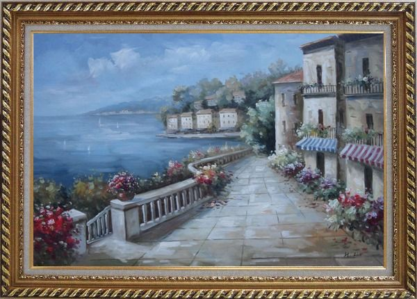 Framed Mediterranean Flower Walkway In Town Oil Painting Impressionism Exquisite Gold Wood Frame 30 x 42 Inches