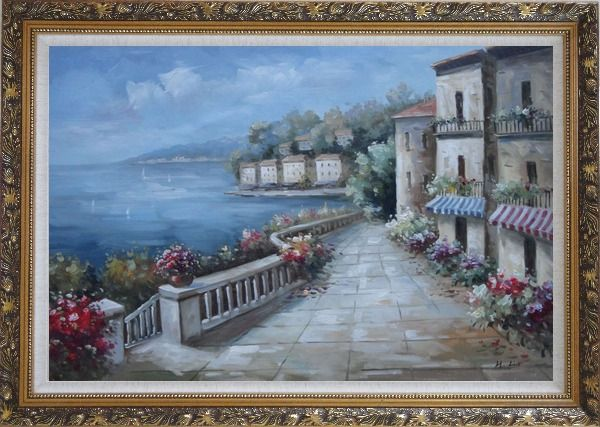 Framed Mediterranean Flower Walkway In Town Oil Painting Impressionism Ornate Antique Dark Gold Wood Frame 30 x 42 Inches