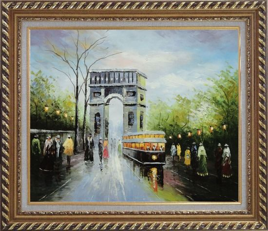 Framed Arc de Triomphe and Avenue des Champs Elysees Oil Painting Cityscape France Impressionism Exquisite Gold Wood Frame 26 x 30 Inches