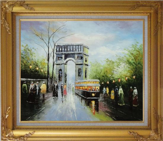 Framed Arc de Triomphe and Avenue des Champs Elysees Oil Painting Cityscape France Impressionism Gold Wood Frame with Deco Corners 27 x 31 Inches